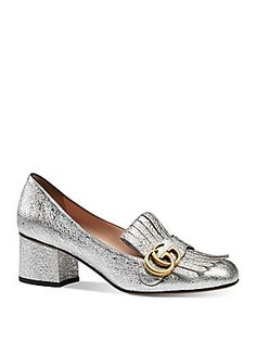 Gucci Marmont GG Metallic Laminate Leather Pumps