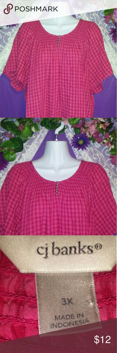 "GORGEOUS GINGHAM *NEW W/OUT TAGS* This is beyond adorable. Fabulous sleeves cut to hit the elbow region, Perfect length. 24"" from armpit. For me,  this falls to cover my hiney and tummy. CJ Banks Tops Tunics"