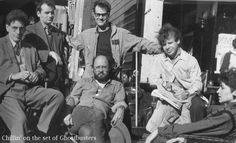 "Harold Ramis, Bill Murray, Dan Akroyd, Rick Moranis, and Annie Potts on the set of ""Ghostbusters"""