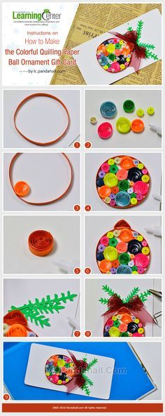 Instructions on How to Make the Colorful Quilling Paper Ball Ornament Gift Card