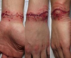 See more Realistic wound tattoos on wrist