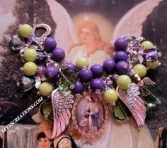 """My Guardian Angel""  Handcrafted Angels Religious Medal Charm Bracelet www.letyscreations.com #guardianangel #jewelry"