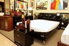 Black Laquer Queen Bedroom Set - Colleen's Classic Consignment, Las Vegas, NV www.colleenconsign.com