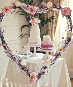 #3 cakes #3 tiers #wedding table #setting #cute #heart