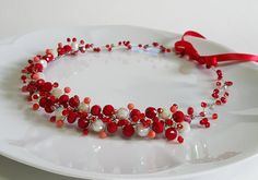 Wedding Red Crystals Crown,Crystals Bridal Tiara,Red  Headpiece,Hair Accessories,Red Crystals Wreath,Crown by CyShell by CyShell on Etsy