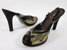 AUTH FENDI Metallic Gold Brown Velvet Slingbacks Pumps Heels Sz 40 10 at www.ShopLindasStuff.com
