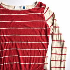 """Anthro Sparrow Red/Ivory Striped Sweater Lightweight knit sweater. Front is red with cream stripes, sleeves are the inverse: cream with red stripes. Back is same as sleeves. Red ribbing around waist and sleeve cuffs. Some pilling. Great condition. True medium. 92% Cotton, 8% Wool.  LengthL 22.5"""" Bust: 35"""" with stretch Anthropologie Sweaters Crew & Scoop Necks"""