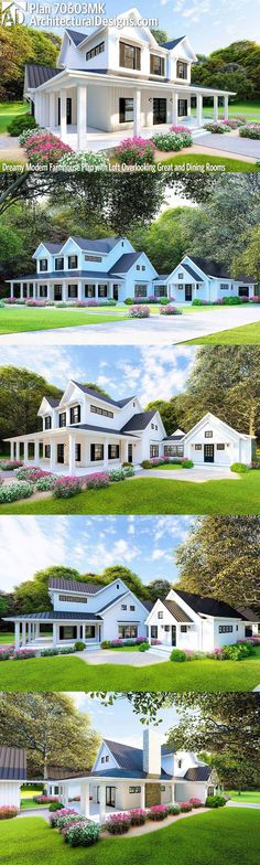 Dream home Design - Plan Dreamy Modern Farmhouse Plan with Loft Overlooking Great and Dining Rooms Modern Farmhouse Plans, Farmhouse Design, Farmhouse Style, Farmhouse Ideas, Farmhouse Decor, Dream House Plans, House Floor Plans, Dream Home Design, My Dream Home