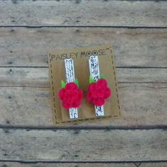 Hot Pink Felt Flower with French Script on Wooden Clip Refrigerator Magnets Set of 2 by PaisleyMoose on Etsy