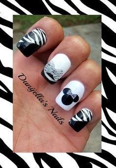 Zebra Minnie Mouse by DanijellaDavis from Nail Art Gallery