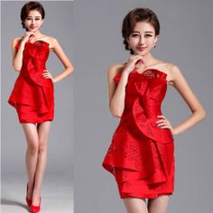 Cute Red Satin Layer Fitted Paper Cut Bridesmaid Party Dresses Women SKU-401421
