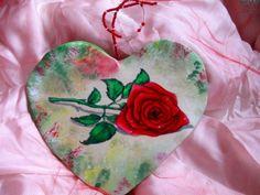 cuore in lycra dipinto a mano