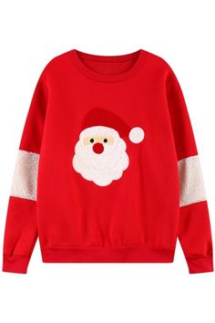 Chic Christmas-Inspired Santa Clause Print Sweatshirt