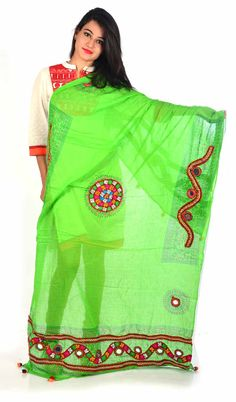 Styleincraft Handwork cotton Green designer Dupatta. This combination is unique mix and match embroidery work and block printing. you can find our best collection in Dupattas. This is Traditional work dupattas wear on  multiple dresses as multi color thread embroidery work on it. #Womenswallets #Pursesonline #Handmadeitems #Styleincraft