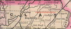 Clay County, Arkansas Map 1889 Boydsville, Corning, Piggott, Rector, Moark, Pollard, Pitman, Knobel, Griffin, Clayville, AR