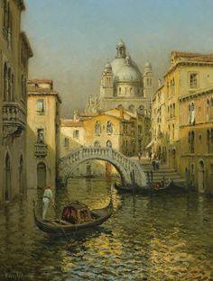 """Marc Aldine (French, 1870-1956) - """"Santa Maria Della Salute, Venice"""". Oil on canvas, 65 x 50 cm"""