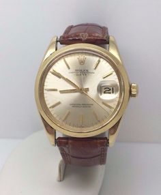 Vintage Rolex 1503 Oyster Perpetual Date Solid 14K Yellow Gold Mens Watch #ROLEX