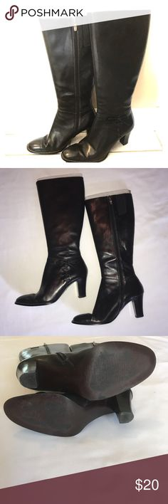 """Black Knee High Boots Black knee high leather boots.  Bow detail on sides.  Zip up sides. 3"""" heel, 16"""" total height.  Still has inserts to keep the boot from folding over.   A little wear on bottom but still in great condition.  Made by Anne Klein.   Size 6 Anne Klein Shoes Heeled Boots"""