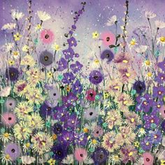 ARTFINDER: Purple flowers by Jane Morgan - Purple flowers dancing on canvas! Poppies, delphiniums, hollyhocks and daisies with pearlescent paint, glitter and splash. The sides are painted in lilac, D ...