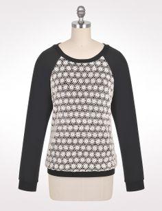 Misses   Tops   Crochet Front Sweatshirt   dressbarn