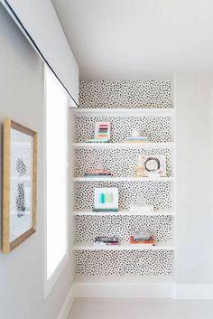 wallpaper on open shelves