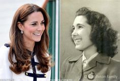 Photos of Kate and her grandmother, Valerie Glassborow.  In WWII Valerie and her twin sister worked in Bletchley Parks famous Hut 16 which cracked Germanys Enigma code. Kate reopened Bletchley Park in 2014.Valerie married RAF pilot Peter Middleton in 1946 and had four children including Kate's dad Michael. Valerie died aged 82 in 2006  Peter died on 2/11/2010  aged 90. William and Kate's engagement announcement was delayed because of his death. Kate was very close to both of them.
