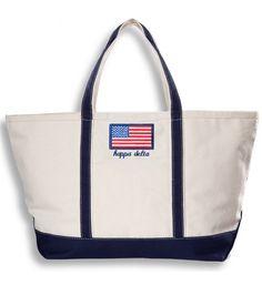 Kappa Delta Flag Boat Tote www.sassysorority.com. #KD #flag #USA #kappadelta…
