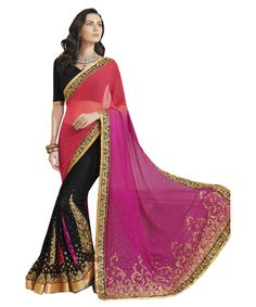Buy Now Magenta-Black Embroidery Work Georgette Half-Half Fancy Saree only at Lalgulal.com. Price :- 2,552/- inr. To ‪#‎Order‬ :- http://goo.gl/TsDptH To Order you Call or ‪#‎Whatsapp‬ us on +91-95121-50402 COD & Free Shipping Available only in India.
