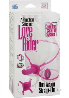 Love Rider Dual Strap On Pink - Two toys in one! Premium solid vibrating Silicone probe with powerful dual motors. Incredibly textured self stimulating butterfly. 7 powerful functions of vibration, pulsation, and escalation in probe and butterfly. Power packed. Easy touch controller with LED lights. Easy on/off button. Fully adjustable and removable Silicone waist and thigh straps fits up to 42+/106.75+ cm waist. Silicone (harness, probe) ABS (clasps, controller). Requires 2 AAA batteries…