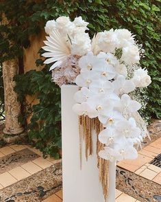 We love all the different flowers/foliage in this - orchids, roses, baby's breath and palms Floral Centerpieces, Wedding Centerpieces, Wedding Table, Floral Arrangements, Wedding Ceremony Flowers, Floral Wedding, Wedding Bouquets, Orchid Wedding Theme, Mumu Wedding