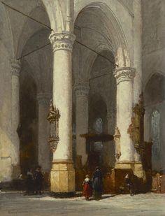 Johannes Bosboom (Den Haag 1817-1891) Interieur van de Hooglandse Kerk, Leiden - Kunsthandel Simonis en Buunk, Ede (Nederland).