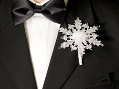 Boutonniere Winter Snowflake Button Hole by BridalBouquetsbyKy