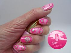 Pink Dotty Daisy Nails                                http://ma-nails.co.uk/pink-dotty-daisy-nails/