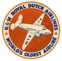 KLM Royal Dutch Airlines: World's Oldest Airline (Luggage Label) by Artist Unknown | Shop original vintage luggage labels online: www.internationalposter.com #luggagelabels