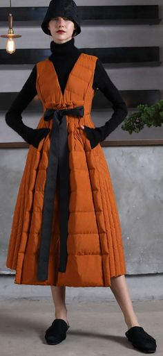 Warm orange goose Down dress Loose fitting v neck snow maxi dress tie waist winter dressesMost of our dresses are made of cotton linen fabric, soft and breathy. loose dresses to make you comfortable all the time. Warm Dresses, Winter Dresses, Cotton Dresses, Fashion Coat, Cardigan Fashion, Winter Fashion, Jumper Dress, Tie Dress, Cardigans For Women