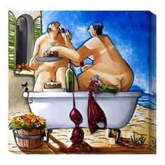 Couple Bathing by Ronald West: 20 x 20 Canvas Giclees