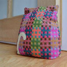 Large colourful cat door stop, leather detail. pink, green, blue checks #cat #doorstop #door #stop #bright #check #madeit #urban #treehouse #fabric