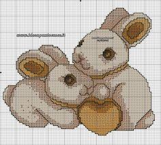 schema punto croce conigli thun