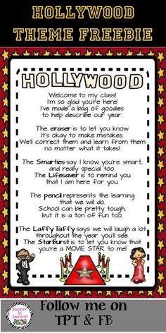 "This is the ""Welcome"" to class goodie bag poem that many teachers use for Meet & Greet or Open House/Meet the Teacher Night. I just ""Hollywooded"" it up with Hollywood graphics and colors to fit with Hollywood themed classrooms or just for those who like t Stars Classroom, 4th Grade Classroom, Classroom Bulletin Boards, Classroom Design, Classroom Themes, School Classroom, Movie Classroom, Beginning Of The School Year, New School Year"