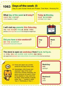 1063-Days of the week 1 Chad Meyer and Moon-Jung Kim EasytoLearnKorean.com An Illustrated Guide to Korean Copyright shared with the Korea Times