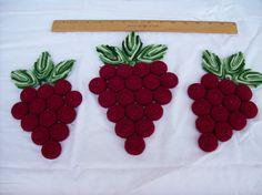Vintage Crocheted Bottle Cap Grape Trivet Trio. $12.00, via Etsy.