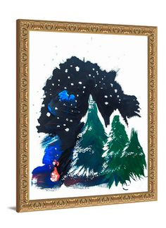 Modern winter art - Spark In The Woods canvas print by Lindsay Letters.