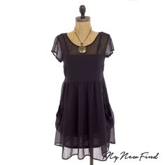 BAND OF GYPSIES URBAN OUTFITTER BLACK CAP SLEEVE DRESS TUNIC CHIFFON TOP XS B17 #BandofGypsies #Blouse