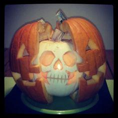 Skull pumpkin carving
