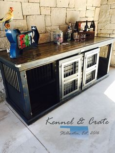 Farmhouse Style Indoor double dog kennel! Dress Blues Sherwin Williams distressed finish. How beautiful is this piece! All double kennels feature and interior door to divide the space. A lot of room for the big digs in this XL kennel. Perfect piece for entertainment table, buffet, kitchen island, entry table, business counter...you name it. What a conversation piece. Dogs will be SO happy to get out of their wire crate. #itsfurnitureforyourdog