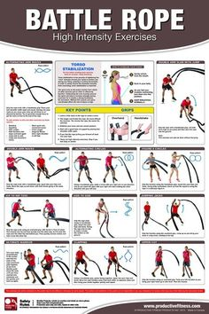 The Battle Rope Poster is an indispensable resource for any fitness facility, crossfit box, or home gym. Used in high intensity training, battling ropes are ideal for full body workouts that maximize the fat burning ability of your body, as well as tone a Full Body Workouts, Gym Workouts, At Home Workouts, Agility Workouts, Workout Routines, Workout Plans, Fitness Exercises, Two A Day Workouts, Crossfit Exercises
