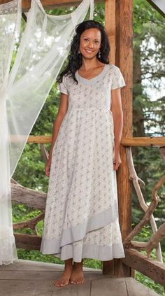 A sweet day dress with a delicate fern print is derived from an historical quilt fabric.