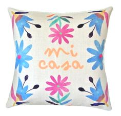 'Mi Casa' Watercolour Otomi Folk Art Cushion'Mi Casa' translates to 'My house!' Full of gorgeous colours, this vibrant watercolour Otomi art cushion cover is sure to add some fun to any interior! The Otomi people are an indigenous community native to Mexico and have been around for many thousands of years. They are renowned for their stunning, colourful floral and animal embroidered patterns. Otomi art commonly depicts flowers, mythical animals, birds...
