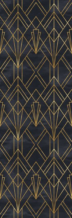 Removable Wallpaper Self Adhesive Wallpaper Gold and Black Geometric Peel & Stick Wallpaper – Trendy Wallpaper, Black Wallpaper, Wallpaper Roll, Peel And Stick Wallpaper, Wallpaper Lounge, Wallpaper Murals, Tapete Gold, Art Deco Pattern, Bathroom Wallpaper