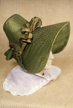 Bonnet, ca. via Manchester City Galleries. ---- This fabric is fascinating. Looks like a silk woven in a patterned satin-weave? Historical Costume, Historical Clothing, Historical Dress, Vintage Outfits, Vintage Fashion, Vintage Dresses, 19th Century Fashion, Antique Clothing, Fashion History